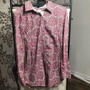 Izod Button Down Collar Bold Print Pink White M